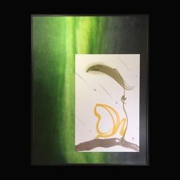 <h5>蛙 かえる 2016</h5><p>額545mm×425mm  ¥75,600(税込)<br> <br> 全てかえってくる縁起物。 雨が降り出して楽しそうなカエルがピョーンと飛ぶ姿を描いた。<br> <br> 一歩踏み出す勇気が大切。<br> <br> </p>