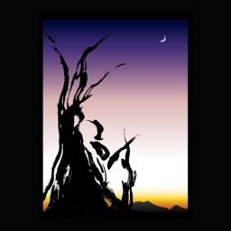 <h5>樹 たつき 2010</h5><p>額(大)605mm×454mm   ¥86,400(税込) 額(小)545mm×425mm  ¥64,800(税込)<br> <br> 朝焼けを背景に樹がシルエットとなって浮かび上がった情景の美しさを「樹」の漢字を使って表現した<br> <br> </p>
